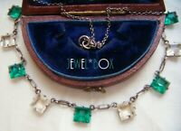 ART DECO STERLING SILVER EMERALD ROCK CRYSTAL  PASTE OPEN BACK VINTAGE NECKLACE