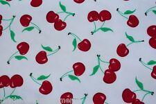 Dance Costume Spandex Lycra Fabric White Cherry Print 50cm - 150cm wide