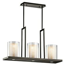 "Kichler Triad Linear Chandelier 3Lt 31.25x7.75x18"", Olde Brz, Clr Out - 42547OZ"