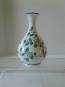 Bud vase white with green  and white floral design