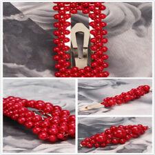 Ladies Red Beads Hair Clip Barrette Stick Hairpin Hair Accessories Hair Clip IT