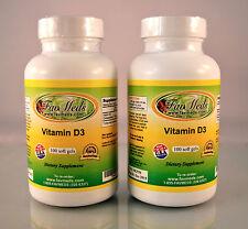 Vitamin D3 1000mg, cholecalciferol, bone - 200 (2x100) soft gels. Made in USA.
