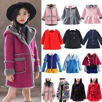 Kids Girl Jacket Trench Coat Fleece Outerwear Parka Warm Winter Clothes Sweater