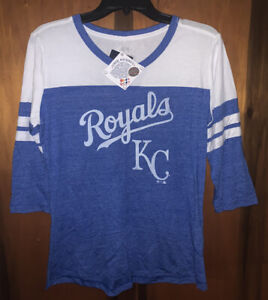 NWT Womens KC Royals Kansas City MLB Raglan Sleeves Baseball T-Shirt. Sz Medium