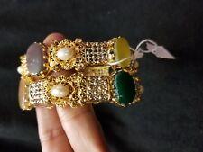 Jewelry beatuiful  Turkish bangles set with gold plated multi stones 2.6 size