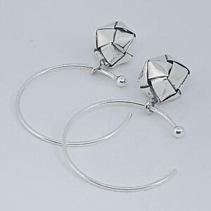 Small Delicate Bell Dangle Earrings 975 Fine Silver Circle Wire Hooks Short Drop