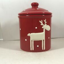 Thompson Ferrier Ceramic Holiday Reindeer Christmas Crock with Scented Candle