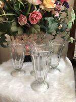 Vintage Tall ANCHOR HOCKING Glass OldFashioned Ice Cream Sundae/Soda Set Of 4
