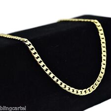 "Men's Cuban Link Hip Hop Chain 24"" Inch x 4MM 14k Gold Plated Fashion Necklace"