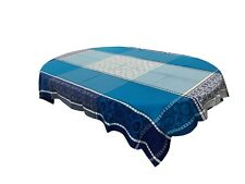 Jacquard  Ruco-guard Coated Tablecloth Marius Blue Geometric  63 x 98.5 France