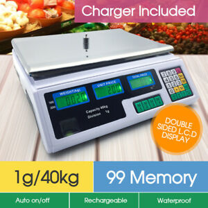 40KG Kitchen Digital Electronic Scale Commercial Shop Weight Scales Food White