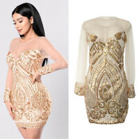 Women Summer Bandage Bodycon Sequin Mesh Evening Party Cocktail Club Mini Dress