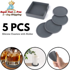 New ListingSilicone Coasters with Holder Anti-Slip Large Size Coasters Drink Absorbent 5Pcs