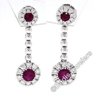 Fancy 18K White Gold 1.38ct Round Ruby w/ Diamond Halo Post Drop Dangle Earrings