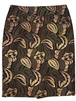 Designer Straight Pencil Skirt  EU 42. US 10 Brown W/ Bronze Brocade MSRP $130
