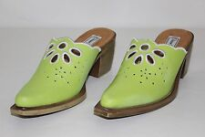 5ad24d65b621 Diane Gilman Womens 6 M Lime Green White Leather Floral Heels Mules Clogs  NEW
