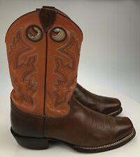 "Men's 9.5 D - 12.5"" Tall Justin Buckaroo Orange Square Toe Buckaroo Cowboy Boots"