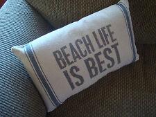 BEACH LIFE IS BEST Nautical Blue Trim Linen Canvas Throw Pillow Home Decor NEW