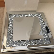 JEWELLED DIAMANTE MIRRORED CANDLE PLATE BLING WEDDING TABLE MIRROR CANDLE PLATE
