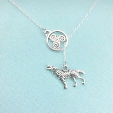 Triskelion Disk with Wolf Charms Lariat Style Y Necklace.