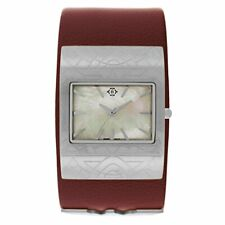 Nanette Lepore Women'S Wonder Woman Mother Of Pearl Leather Cuff Watch Qvc $99