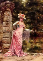 Beautiful Oil painting Frederic Soulacroix -in the garden free shipping cost