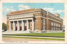 Salina Memorial Hall in Salina KS Postcard 1934