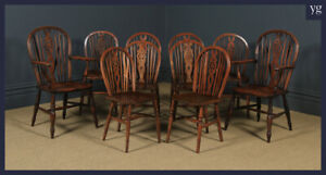 Antique English Set of 10 Ash & Elm Windsor Wheel Back Kitchen Dining Chairs