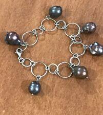 "Genuine Large black Gray Baroque Pearl Dangling Charms Sterling  Bracelet 8.5"""