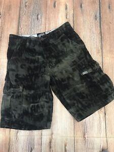 VANS Green Camo Cargo Shorts boys Sz 12  Camouflage Skater Bottom EUC