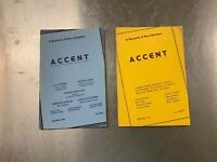 2 Issues of Accent Magazine, 1941, 1943 Quarterly of New Literature Top authors