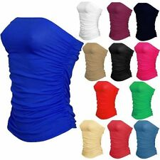 New Womens Ladies Boobtube Bandeau Strapless Ruched Crop Bra Vest Top Plus Size