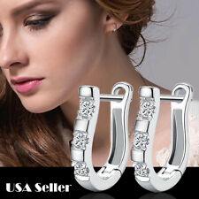 New Fashion women Jewelry Rhinestone Crystal Silver Ear Stud Hoop Earrings HS1