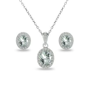 Oval Halo Aquamarine & White Topaz Necklace & Stud Earrings Set in 925 Silver