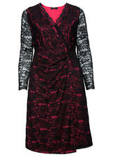 SHEEGO Black Wrap Over Layered Look Dress PLUS Size UK 22 US 18 EUR 50  (WB27)