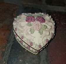Dezine - Hand painted Trinket Box Heart Shaped with Floral or Rose Design