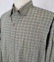 Eddie Bauer Button Up Oxford Shirt XL Tan Khaki Black White Plaid L/S Cotton