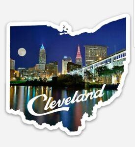 Cleveland Skyline MAGNET - OHIO shaped sunset downtown Premium Die Cut Vinyl