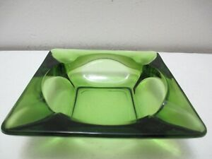"""Vintage Anchor Hocking Olive or Avocado Green Glass Ashtray Square 4 5/8"""""""