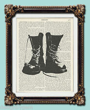 """Boots military Antique vintage encyclopaedia dictionary art print 10"""" x 8"""""""