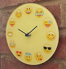 Emoji Clock Glass 17cm Funny Face Yellow Smile Heart Tongue Wink Shades New
