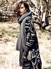 NEW Free People Maxi Coat black & gray Heavy Bold Print Cardigan Sweater XS $298