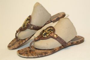 Tory Burch Miller 2 Womens 7.5 M Signature Leather T Strap Sandals USED