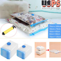 Strong Vacuum Storage Bags Space Saving Compressed Bag Vaccum Pack Saver w/ Pump