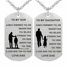 Dad To My Son Daughter Pendant Always Remember you Dog Tag Necklace Gift Love