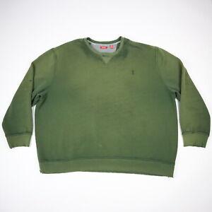 Destroyed Sun Faded Worn Thin izod Sweatshirt Distressed Green Grunge Drape 4XL