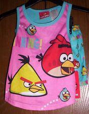 ANGRY BIRDS Pajamas Girl's 4/5 NeW Pink Shirt and Shorts Pjs Set Chuck Red NWT