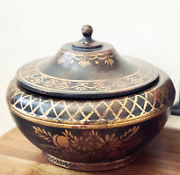 "Vtg Chinese Black Gold Floral Motif Papier Mache Lidded Clay Pot Urn 15""W 12.5""H"
