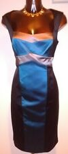 Coast black teal & pewter stretch satin pencil/wiggle dress size 14