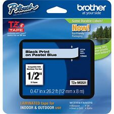 "P-Touch TZ Standard Adhesive Laminated Labeling Tape 1/2""w Pastel Blue TZEMQ531"